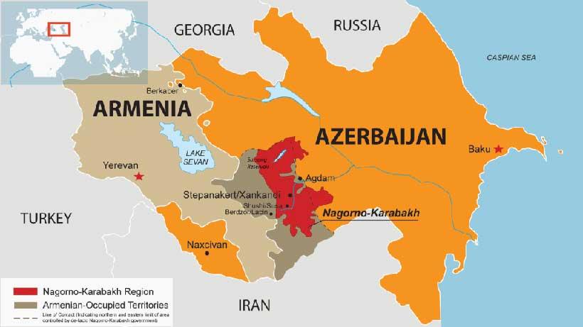 image showing map of Amenia ,Azerbaijan and Nagorno-Karabakh