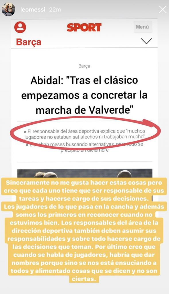 Messi Instagram story where he came in defense of his teammates against Abidal.