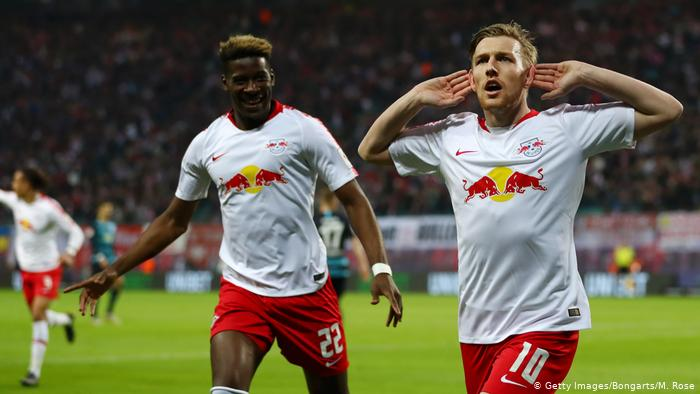 Image showing celebration by RB Leipzig player after scoring a goal .
