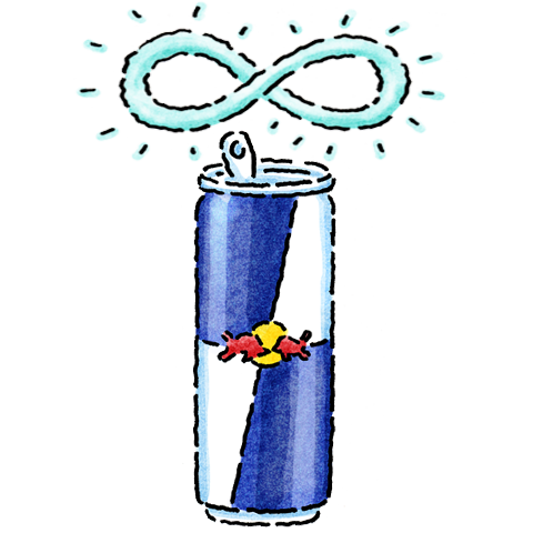 Illustration figure of Red Bull can