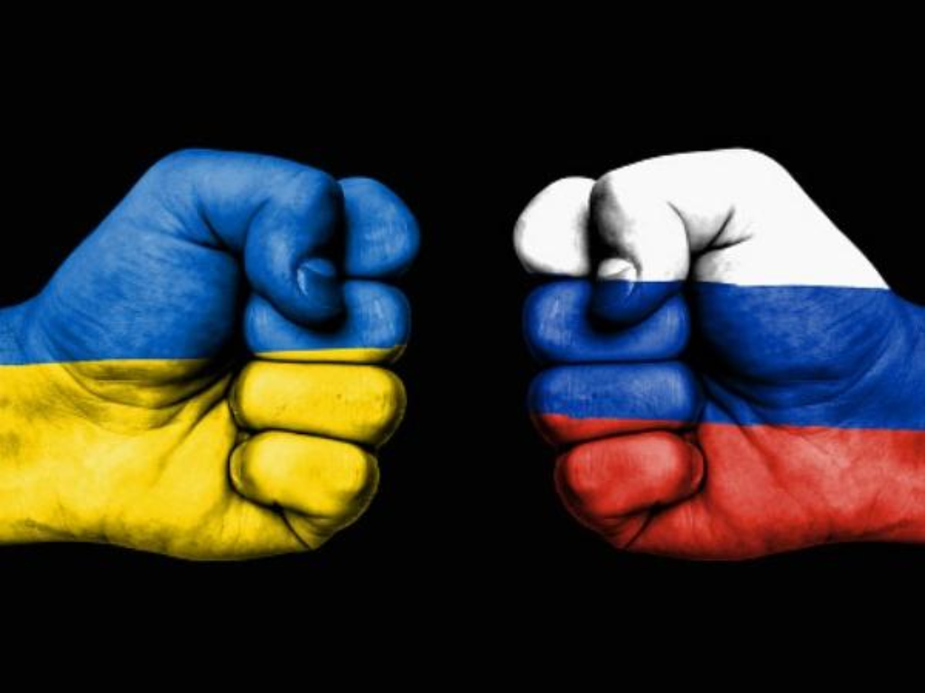 Image showing Fists of Russia and Ukraine as a sign of fight