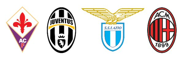 Logos of the all the teams involved in Calciopoli