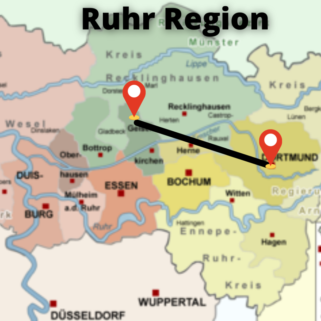 Map of Ruhr region